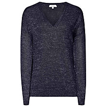 Buy Reiss Fontaine Metallic V-Neck Jumper, Night Navy Online at johnlewis.com
