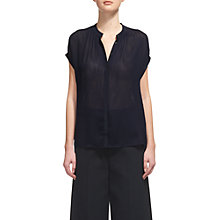 Buy Whistles Justine Sheer Blouse, Navy Online at johnlewis.com