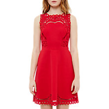 Buy Ted Baker Verony Cutwork Skater Dress, Bright Red Online at johnlewis.com