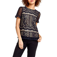 Buy Oasis Graphic Lace Top, Navy Online at johnlewis.com
