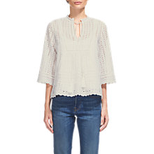 Buy Whistles Margo Broderie Tassle Blouse, White Online at johnlewis.com