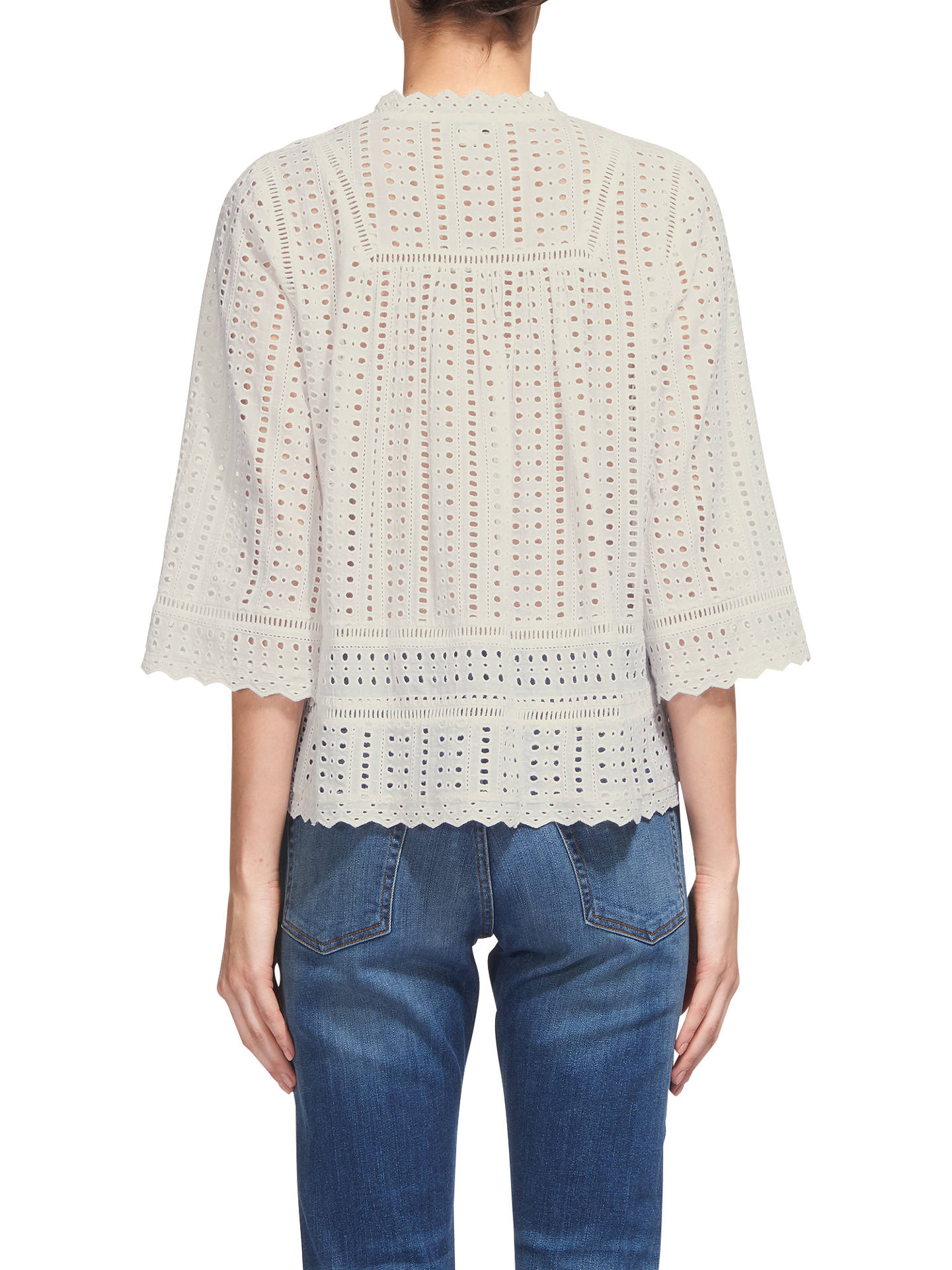 BuyWhistles Margo Broderie Tassle Blouse, White, 6 Online at johnlewis.com
