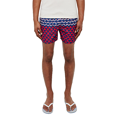 Ted Baker Opah Colour Block Geo Swim Shorts, Navy/Red