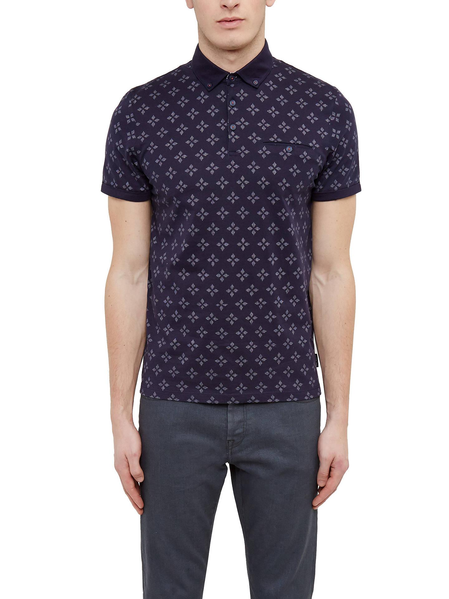 4a4bf69e Buy Ted Baker Fella Diamond Print Cotton Polo Shirt, Navy, 2 Online at  johnlewis ...