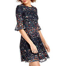 Buy Oasis Daisy Print Lace Dress, Black Online at johnlewis.com