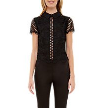 Buy Ted Baker Beaux Mixed Lace Collared Crop Top, Black Online at johnlewis.com
