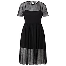 Buy Miss Selfridge Petite Dobby Mesh Overlay Dress, Black Online at johnlewis.com