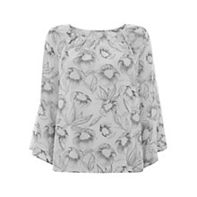Buy Mint Velvet Ivah Print Fluted Sleeve Blouse, Pale Grey/Ivory Online at johnlewis.com