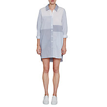 Buy French Connection City Stripe Shirt Dress, Meru Blue/Summer White Online at johnlewis.com