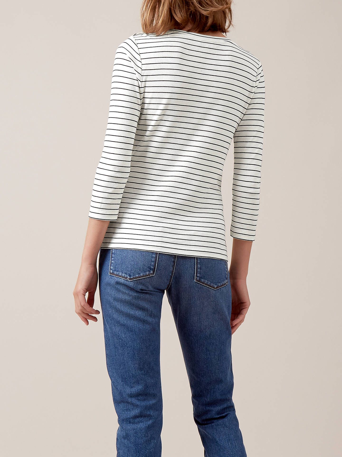 Buy Hobbs Alice Stripe Top, French Blue/Ivory, XS Online at johnlewis.com