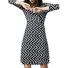 Buy Warehouse Chevron Print Wrap Dress, Black Online at johnlewis.com
