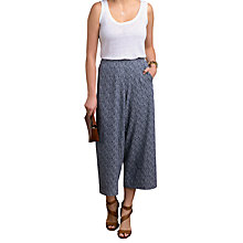 Buy Pure Collection Fluid Cropped Palazzo Trousers, Navy Broken Stripe Online at johnlewis.com