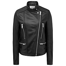 Buy Reiss Erin Leather Biker Jacket, Black Online at johnlewis.com