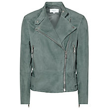 Buy Reiss Grace Suede Biker Jacket, Moss Online at johnlewis.com