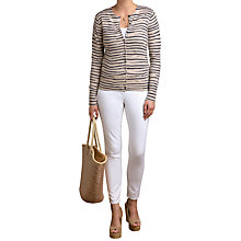Buy Pure Collection Cashmere Printed Cardigan, Marble Animal Stripe Online at johnlewis.com