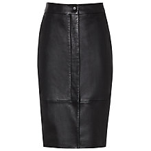 Buy Reiss Cara Leather Front Zip Skirt, Black Online at johnlewis.com