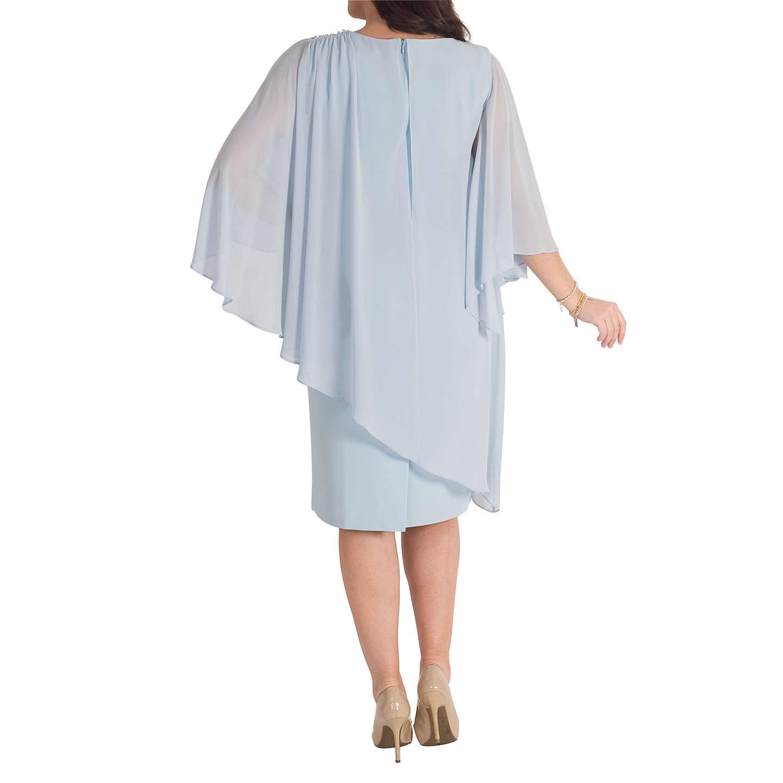 Chesca Chiffon Layer Bead Shoulder Dress, Aqua at John Lewis