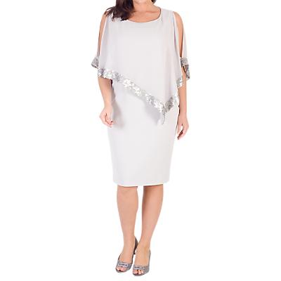 Chesca Sequin Trim Cape Dress, Silver Grey