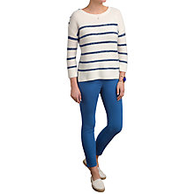 Buy Pure Collection Cashmere Textured Stripe Jumper, Soft White/Navy Online at johnlewis.com
