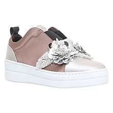 Buy Kurt Geiger Loop Low Top Trainers, Silver Satin Online at johnlewis.com