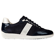 Buy Geox Myria Leather Lace Up Trainers, Dark Navy Online at johnlewis.com
