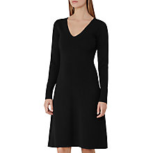 Buy Reiss Emelia Knitted Fit and Flare Dress, Black Online at johnlewis.com