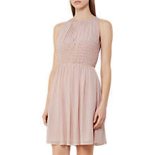 Buy Reiss Charlotte Smocking Detail Detail Dress, Dusky Pink Online at johnlewis.com