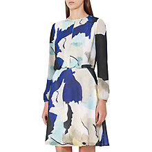 Buy Reiss Neave Watercolour Print Dress, Bright Sapphire Online at johnlewis.com