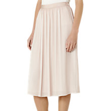 Buy Reiss Adalie Plisse Midi Skirt, Pink Linen Online at johnlewis.com