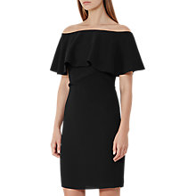 Buy Reiss Balm Off-the-Shoulder Bardot Dress, Black Online at johnlewis.com