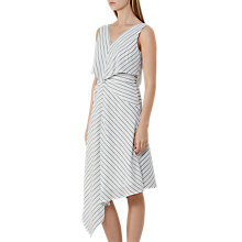 Buy Reiss Rhoni Stripe Gathered Waist Dress, Off White Online at johnlewis.com