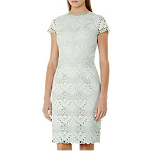 Buy Reiss Liza Mixed Lace Dress, Light Sage Online at johnlewis.com