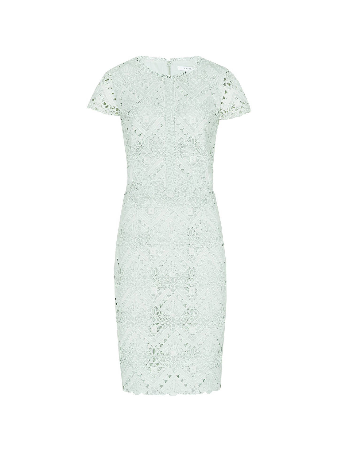 BuyReiss Liza Mixed Lace Dress, Light Sage, 6 Online at johnlewis.com