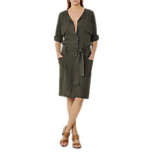 Buy Reiss Margot Collarless Waist Detail Shirt Dress, Khaki Online at johnlewis.com