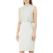 Buy Reiss Bobbi Lace Overlay Dress, Soft Mint Online at johnlewis.com