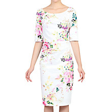 Buy Jolie Moi Retro Floral Print Half Sleeve Dress, White Online at johnlewis.com