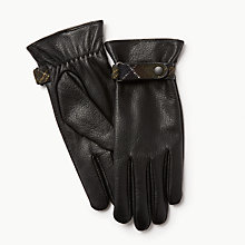 Buy Barbour Goatskin Leather Gloves, Black Online at johnlewis.com