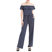 Buy Max Studio Off Shoulder Stripe Jersey Jumpsuit, Navy/White Online at johnlewis.com