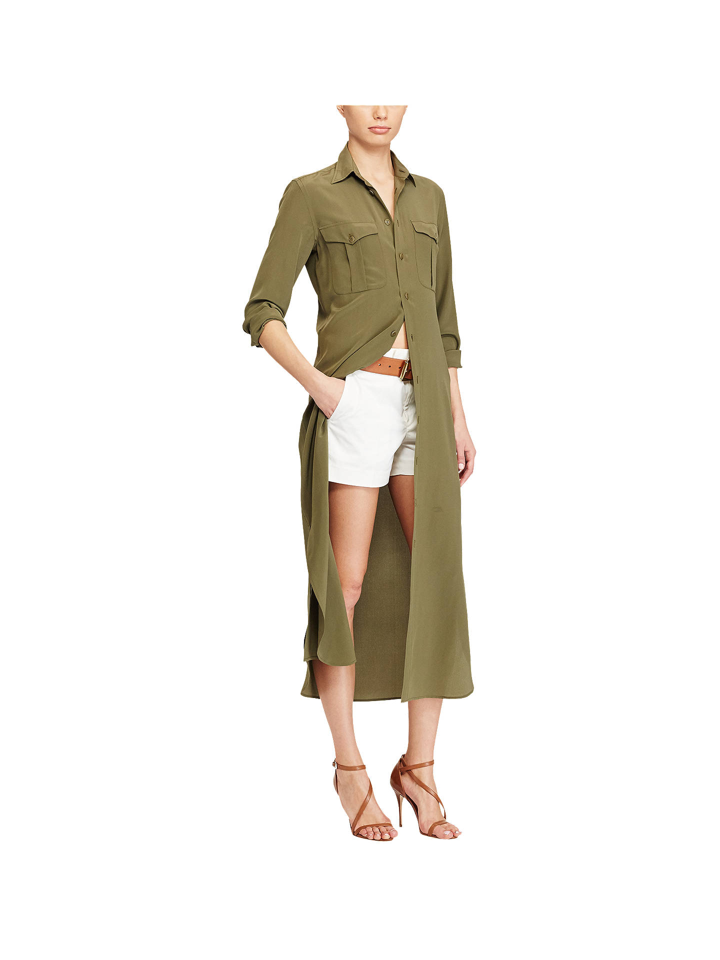 dce2372d8 Buy Polo Ralph Lauren Silk Crepe Shirt Dress, New Olive, 16 Online at  johnlewis ...