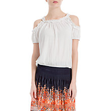 Buy Max Studio Cold Shoulder Ruffle Jersey Top, White Online at johnlewis.com