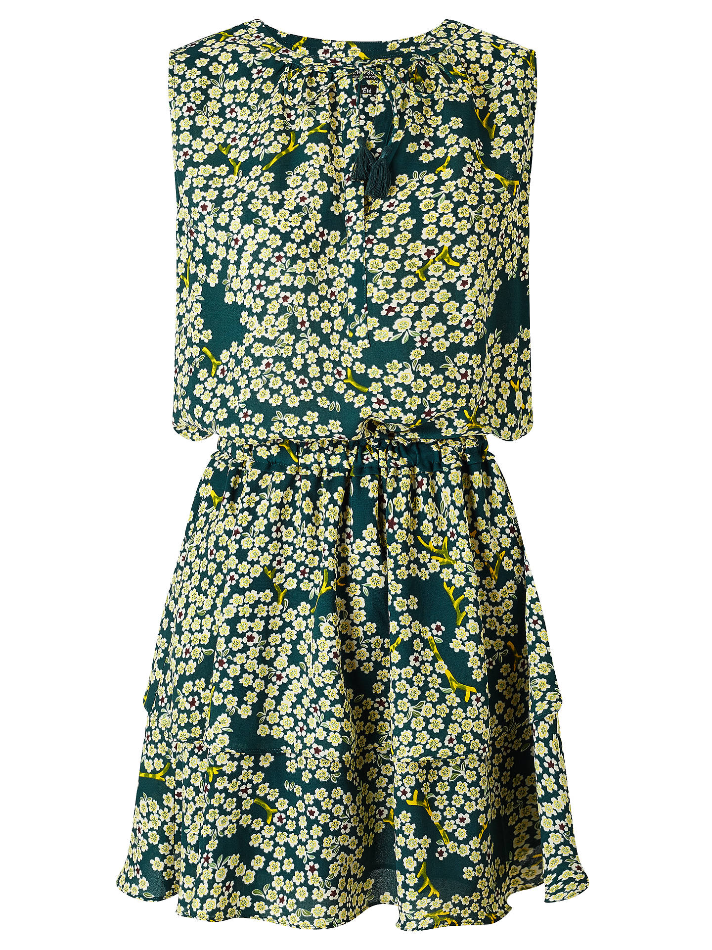 8237f8901e Buy Maison Scotch Floral Print Tiered Skirt Dress, Green/Multi, 8 Online at  ...