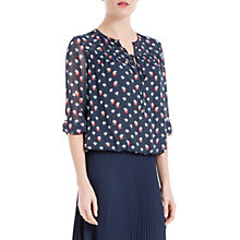 Buy Max Studio Printed Georgette Top, Navy Online at johnlewis.com