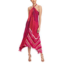 Buy Polo Ralph Lauren Shibori-Dyed Silk Halter Dress, Aruba Pink Multi Online at johnlewis.com