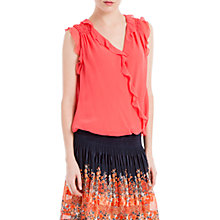 Buy Max Studio Sleeveless Ruffle Blouse, Dark Carmine Online at johnlewis.com