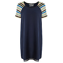 Buy Maison Scotch Knitted Stripe Sleeve Dress, Navy Online at johnlewis.com