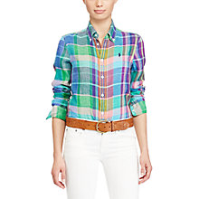 Buy Polo Ralph Lauren Boy Fit Plaid Linen Shirt, Pink/Teal Online at johnlewis.com
