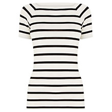 Buy Oasis Square Neck Stripe T-Shirt, Black/White Online at johnlewis.com