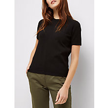 Buy Jaeger Knit Textured T-Shirt, Black Online at johnlewis.com