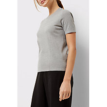 Buy Jaeger Knitted Texture Block T-Shirt, Grey Melange Online at johnlewis.com