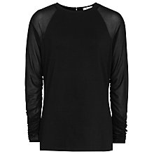 Buy Reiss Kezia Sheer Long Sleeve Top, Black Online at johnlewis.com